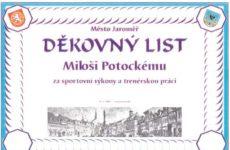 Děkovný list pro Miloše Potockého