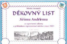 Děkovný list pro Jirku Andrleho